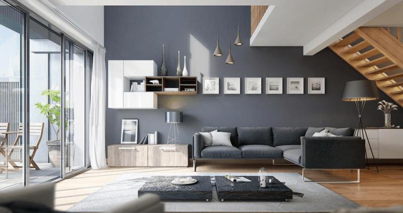 7. Màu sơn nhà đẹp: Màu xám sang trọng và đẳng cấp