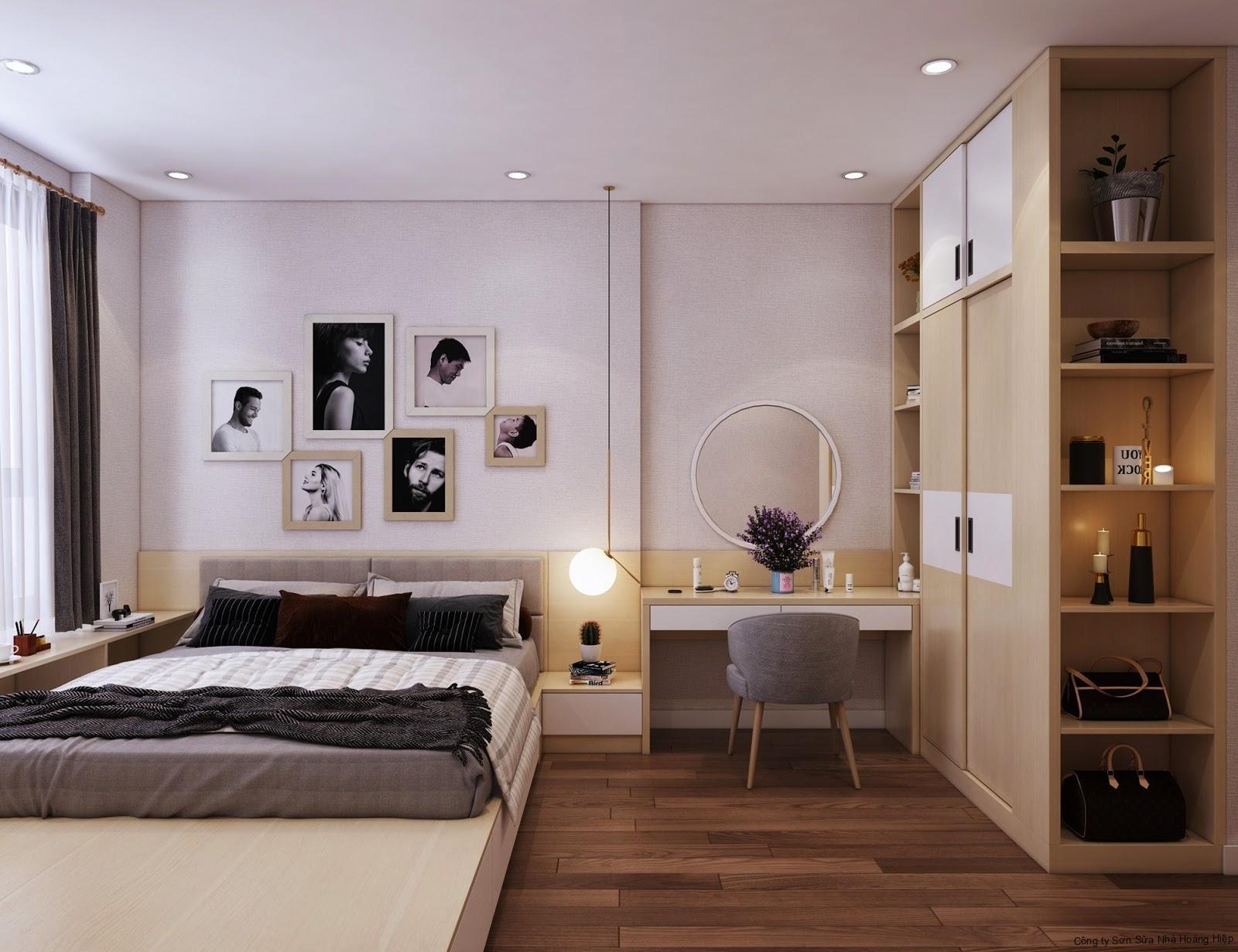 Sử dụng giường ngủ dạng bục và tủ quần áo đụng trần đa năng