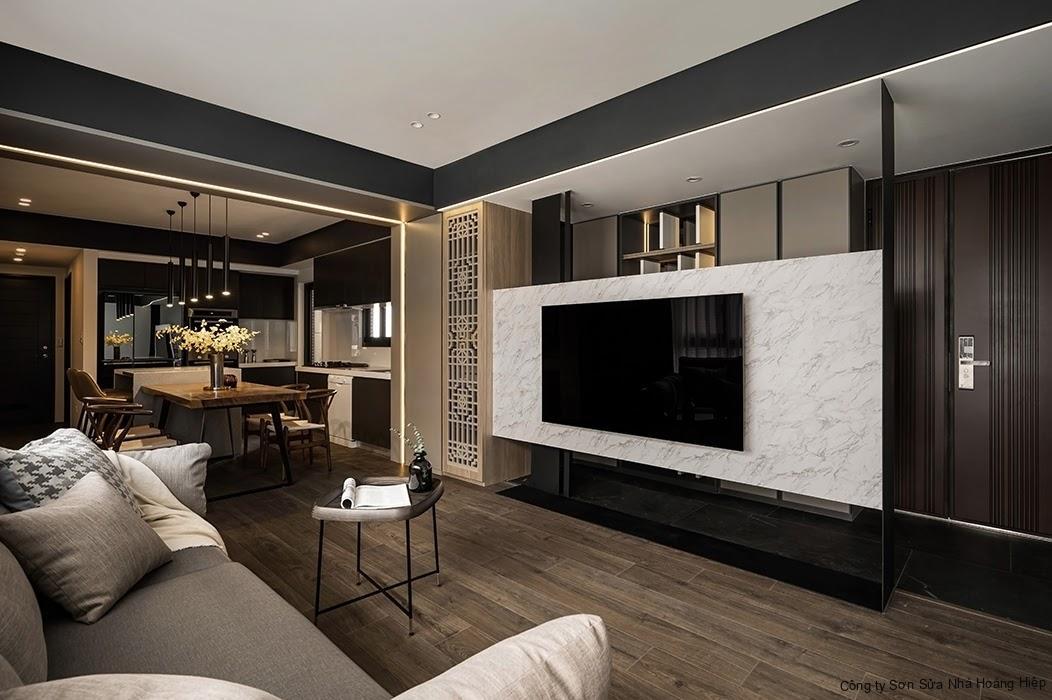 Thiết kế không gian mở thoáng đãng với nội thất phòng khách liền bếp