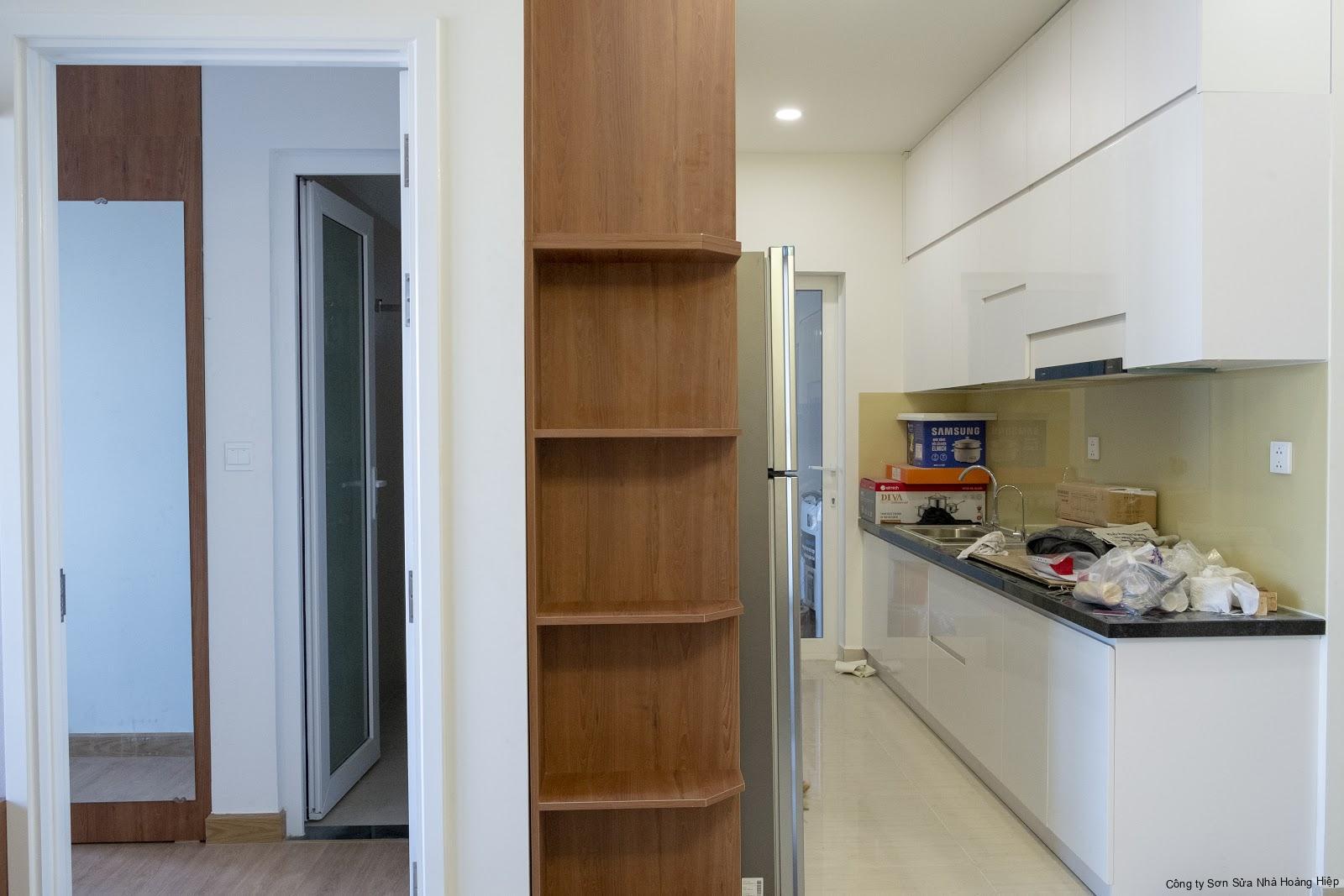 Tủ bếp chữ I gọn cho căn bếp có diện tích nhỏ
